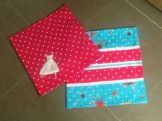 Pillowcases in two different fabrics , hot pink and bright blue. With lace and ribbon and miniature dress.