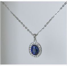 Pendant Necklace White Gold Plated with Large Blue Crystal on eBid United Kingdom £5.95