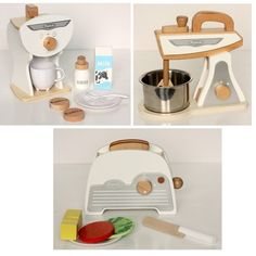 White Retro Toy Kitchen Accessories Set - 3Pk