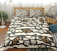White Yellow Butterfly Bedding Set Butterfly Bedding Set, Butterfly Room, Bed In A Bag, Cotton Duvet, Clean Design, Duvet Cover Sets, Pillows, Hippie Chic