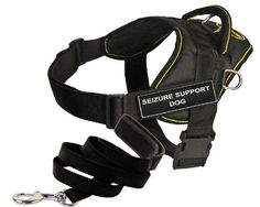 Dean and Tyler Bundle  One DT Fun Works Harness Seizure Support Dog Yellow Trim Large  One Padded Puppy Leash 6 FT Stainless Snap  Black *** Want additional info? Click on the image.