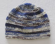 BLUE Brown Camouflage Beanie Crocheted Hat by Hookedonyarnct, $15.00