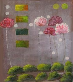 Kvety, zelenej bochníčky, moderné, dekoratívny obraz, obraz do bytu, obraz do interiéru.
