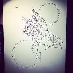 Ideas Origami Tattoo Geometric Illustrations For 2019 Geometric Cat Tattoo, Geometric Drawing, Geometric Art, Geometric Designs, Tattoo Abstract, Geometric Animal, Geometric Sleeve, Trendy Tattoos, New Tattoos