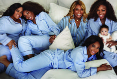 """Serena Williams, Vogue Magazine-February with her child (nicknamed Olympia), """"her mother Oracene Price and sisters, Isha Price, Venus Williams and Lyndrea Price. All the women are wearing light blue pajamas. Black Girls Rock, Black Girl Magic, Family Shoot, Venus And Serena Williams, Serena Williams Family, Lab, My Black Is Beautiful, Beautiful Family, Beautiful People"""