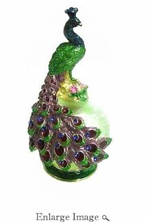 Jeweled & Enameled Peacock Perfume Bottle