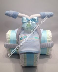 #BabyShower Baby Blue Tricycle Diaper Cake #itsaBOY