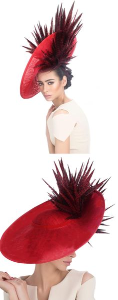 Womens Kentucky Derby Wedding Royal Ascot Church Red Saucer Headpiece Fascinator. You can't go wrong with a feather hat for your Kentucky Derby or Royal Ascot outfits, and Churchill downs love big hats, so this large headpiece could be the perfect fashion accessory. Kentucky Derby Hat ideas. Outfit inspiration. Mother of the Bride, spring wedding. #kentuckyderby #derbyhats #bighats #fascinator #hatsfothederby #kentuckyderbyoutfits #motherofthebride #weddings #fashion #affiliatelink…