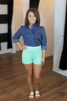 Seaside Sweetie Shorts-Mint at Juliana's Boutique- shopjulianas.com. Preppy scalloped shorts!