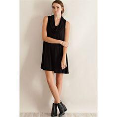 Entro Cowl Neck Flare Dress ($33) ❤ liked on Polyvore featuring dresses, black, sheer dress, flared hem dress, flare dresses, lightweight dresses and transparent dress
