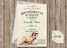 Vintage Beach Pin up Girl Bachelorette Weekend DIY, Digital Invitation Nautical by SugSpcInvitations