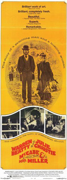 McCABE & MRS. MILLER (1971) - Warren Beatty & Julie Christie - Directed by Robert Altman - Warner Bros. - Insert Movie Poster.