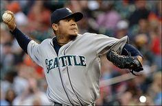 Seattle Mariner's pitcher King Felix (Hernandez) wins game 100 against Astros, 4-22-13