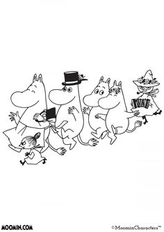 Moomin coloring pages Family Coloring Pages, Cartoon Coloring Pages, Colouring Pages, Moomin Tattoo, Moomin Wallpaper, Moomin Mugs, Moomin Valley, Tove Jansson, Painted Books