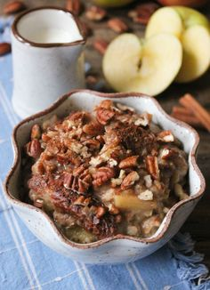 Slow Cooker Apple Pie Oatmeal. This incredibly simple breakfast is guaranteed to make you a morning person. (Plus, it's vegan and gluten-free!) #FallFest #SlowCooker #Oatmeal