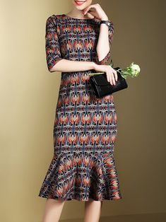 Purple Vintage Tribal Printed Mermaid Midi Dress