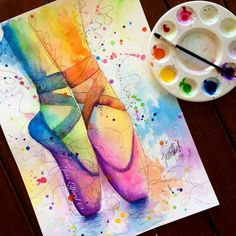 Colourful watercolour painting of ballet slippers by Jess Elford. Colourful watercolour painting of ballet slippers by Jess Elford. Dance Paintings, Ballet Art, Ballet Painting, Art Drawings Sketches Simple, Sketch Art, Doodle Art, Painting & Drawing, Drawing Eyes, Watercolor Paintings