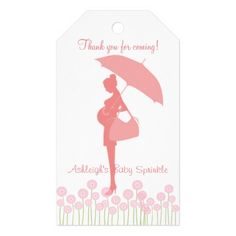 Thank You For Coming Pink Silhouette Baby Sprinkle Pack Of Gift Tags