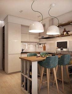 Kitchen Room Design, Home Room Design, Modern Kitchen Design, Home Decor Kitchen, Interior Design Kitchen, Best Kitchen Designs, Home Kitchens, Living Room Kitchen, Small Apartment Interior