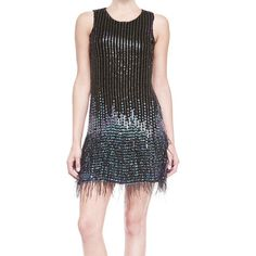 "Parker beaded and sequined ""Allegra"" dress with ostrich feather hem. Round neckline; keyhole back. Sleeveless. Fitted. Pullover style. Black Fully Lined Shell 1"