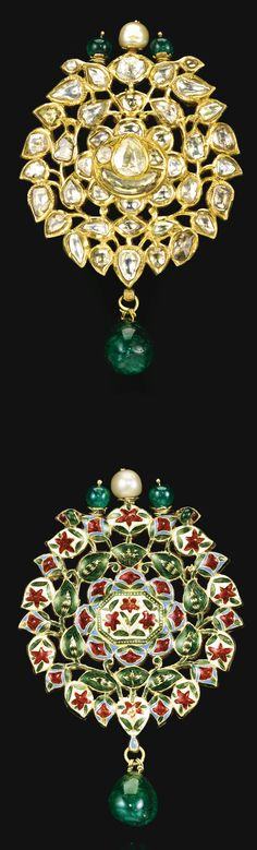 An enamelled and diamond-set kundan brooch (or pendant), India, Jaipur, 18th/19th century consisting of diamonds set in the kundan technique, designed as a foliate blossom with emerald and pearl terminals, including a suspended emerald, the reverse with detailed polychrome enamelling 8.3cm.