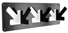 Coat Hooks – For those who are looking for original stuff for thier homes here's A COAT HOOK by Nick Leigh's simple but cleverly designed coat hook . The outline of an arrow is laser cut in aluminium and folded out and repeated in a linear pattern t Metal Sheet Design, Sheet Metal, Corte Laser Metal, Tole Pliée, Modern Interior, Interior Design, Rack Design, Metal Projects, Art Projects