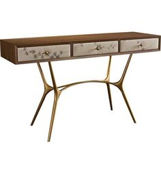 Agnes Console (Leather Drawer Fronts) from the Hable for Hickory Chair™ collection by Hickory Chair Furniture Co.