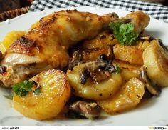 Oloupané brambory a pórek nakrájíme na kolečka, žampiony na plátky. Stehna osolíme a opepříme.Pekáček vymažeme máslem a na dno dáme smíchané... Czech Recipes, Food Dishes, Chicken Wings, Poultry, Recipies, Stuffed Mushrooms, Health Fitness, Food And Drink, Cooking Recipes