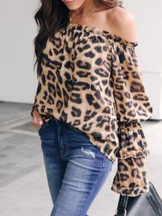 Leopard Printed Off Shoulder Flare Long Sleeve Sexy blouses for women chic blouses for women casual blouses outfit cute blouses blouses for women work business casual Long Blouse Outfit, Blouse Sexy, Blouse Dress, Work Blouse, Sexy Bluse, Winter Fashion Casual, Fashion Fall, Types Of Sleeves, Shirt Blouses