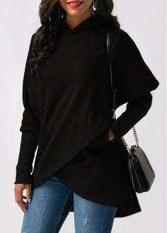 Asymmetric Hem Long Sleeve Black Pocket Hoodie | Rosewe.com - USD $32.13