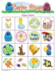 Easter Party Picture Bingo - Easter Games for Kids, Printable Easter Games Easter Bingo, Hoppy Easter, Easter Party, Easter Eggs, Easter Dinner, Easter Games For Kids, Easter Crafts For Kids, Easter Ideas, Easter Stuff