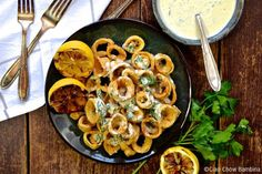 Crispy Calamari with Citrus Parsley Aioli - Ciao Chow Bambina Calamari Recipes, Seafood Recipes, White Bean Hummus, Fried Calamari, Oil For Deep Frying, Dill Sauce, Thanksgiving Appetizers, Happy Thanksgiving, Seafood