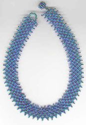 Blue & Turquoise Netted Necklace Pattern by Shirley Isaacs at Bead-Patterns.com