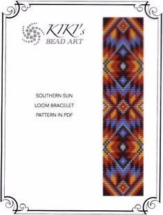 These are own designed patterns in PDF format, downloadable directly from Etsy.  These patterns are for the southern sun ethnic inspired LOOM bracelet which are created using Japanese delica beads.  The pdf files include: 1. a large picture of the pattern 2. a large, detailed graph of the pattern, 3. a bead legend with the colour numbers and count of the delica beads for the suggested length 4. a word chart of the pattern for both versions.  Please note that my patterns do not include…
