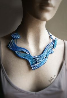 """Collier """"Vague bleue"""" Polymer Clay, Crochet Necklace, French, Jewelry, Clays, Lobster Clasp, Necklaces, Leather, Jewerly"""