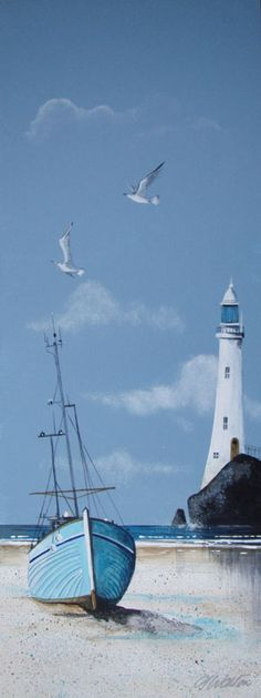 Gary Walton acrylic 'Gounded by the Lighthouse'
