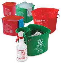 SAN JAMAR: Kleen Pails. Made of durable, impact resistant plastic and clearly marked for specific use.