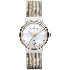Skagen Ancher Two Tone Striped Mesh Ladies Watch (505 SAR) ❤ liked on Polyvore featuring jewelry, watches, mesh watches, two tone jewelry, mesh jewelry, 2 tone watches and slim watches