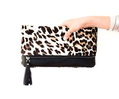 Leopard fold over Clutch Cheetah Leather Clutch by gmaloudesigns