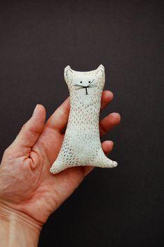 Embroidered Cat Plush Birthday gift Beige Stuffed door WoodlandTale