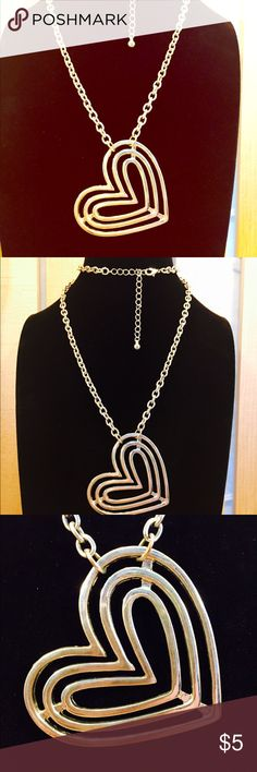 """Vintage Heart Necklace Super cute! 24"""" long with 3"""" extender. Heart is 2"""" wide. Surprisingly great quality for a costume piece! Cleaned ultrasonically just for you. ✨ Vintage Jewelry Necklaces"""