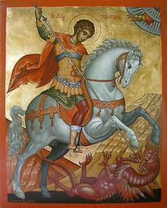 Saint George the Great Martyr of Syria Orthodox Icon Byzantine Icons, Byzantine Art, Religious Icons, Religious Art, Printable Images, Saint George And The Dragon, Art Icon, Orthodox Icons, Angel Art