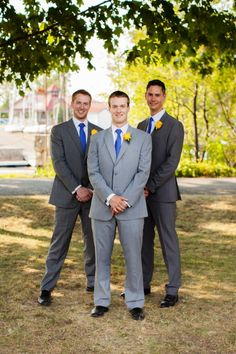 This groom wore a light grey suit to distinguish himself from him groomsmen.