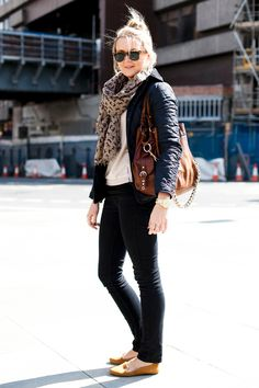 Kate Murrey (blogger): shades + scarf + white shirt + leather jacket + black pegged jeans + flats : (fall outfit)