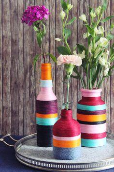 {DIY} Upcycling: Gewickelte Blumenvasen mit Wolle