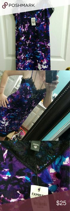"""Express slip dress, NWT, XS, purple &blue, w/lace Express brand slip dress, NWT, size XS, but isn't tight fitting, $59.90, purple,  blue,  black,  white &a little bit of red, all in a """"splash"""" design, has black lace trim & adjustable spaghetti straps! I accidentally ordered 2, so I have one of my own & LOVE it! Super sexy, yet comfortable. Sometimes I wear a black cardigan over it. I can wear it w/black flip flops & it's nice and casual,  or w/boots or wedges,  if I'm going out! Beautiful…"""