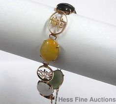 Vintage 14K Gold Jade Good Fortune Health Happiness Colors of Jadeite Bracelet