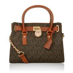 Typical MICHAEL Michael Kors Hamilton Bag in EW Satchel Brown www.fashionette.de