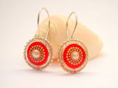 Red Pearl earrings  sterling silver earrings short by hilawelner,