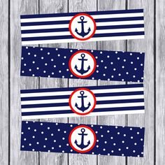 Nautical Water Bottle Labels Printable by DesignsByJessieV on Etsy